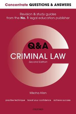 9780198817505 - Concentrate Q&A Criminal Law: Law Revision and Study Guide