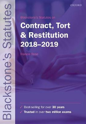 9780198818526 - Blackstone's Statutes on Contract, Tort & Restitution 2018-2019