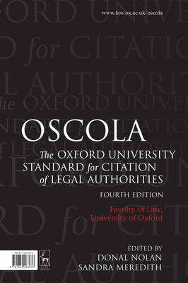 9781849463676 - Oscola: The Oxford University Standard for Citation of Legal Authorities